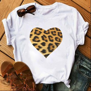 Leopard Women Tops Heart Print Fashion Casual O Neck Female T Shirt 90s Lady Yong Girl Valentines Day