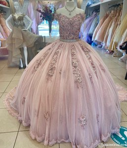 Gorgeous Dusty Pink 2021 Quinceanera Prom Dresses Charro Ball Gown 3D Floral Flowers Lace Tulle Corset Applique Sweet 16 Dress Vestidos 15 Ano