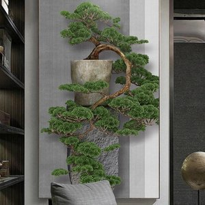Wallpapers Custom Po Chinese Style 3D Stereoscopic Green Pine Tree Entrance Porch Wall Decorative Painting Large Mural Wallpaper Art