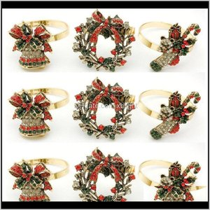 Rings Table Decoration Aessories Kitchen, Dining Bar Home & Garden Drop Delivery 2021 12   Pcs El Christmas Wreath Boots Bell Inlaid Diamond