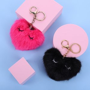 Heart Pompoms Keychain Party Gift Plush Balls Key Chains Decorative Pendant for Women Bag Accessories Keychains Car Fashion Keyring