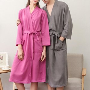 Sexy Robes Men Women Sleepwear Plus Size Bathrobe Waffle Water Absorption Quick Drying Peignoirs Autumn Kimono Pijamas Mujer