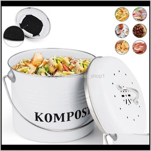 Utensil Crocks Kitchen Compost Bin Organic Homemade Can Melons Leaves Outdoor Countertop Iron Round Charcoal Filter Bucket Trash Recyc Yrkvs