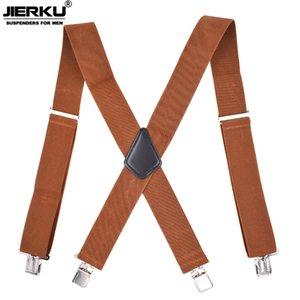 Jierku-Tirantes de 4 clips Hombre, Tirantes Pantalones Ajustables Para Motocicletas Al Aire Libre, 5,0x120cm, JK4C04