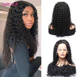 Lace Wigs T Part Kinky Curly 13x1 Front For Black Women Peruvian Human Hair 180 Density Middle Pre Plucked 28 Inch
