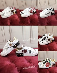 2021 ladies sneakers Top quality Mens leather casual shoes Platforms Print pattern couple fashion personality wild sports shoe
