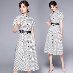 2021 Fashion Polka Dot Shirt Dress Runway Designer Elegant Ladies Button Short Sleeve Lapel Casual Office Midi Dresses Classic Belt A-Line Party Women Clothes Summer