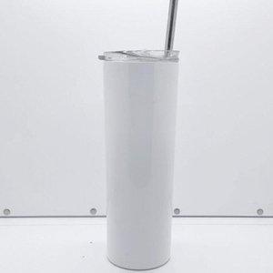 20 oz süblimasyon sıska tumbler saman payet fırça ve coaster paslanmaz çelik taşınabilir açık araba fincan