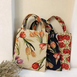 Design luxury handbag Fashion Retro Oil Painting Color Matching Tulip Jacquard Carry Lunch Bag To Work Small Cloth Hand Women's Shoulder Clutch Bags