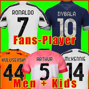 juventus maillots de football de la Fans Version du joueur RONALDO DYBALA MORATA CHIESA McKENNIE maillot de foot 20 21 JUVE Men + Kids kit quatrième 4ème ensembles garçons
