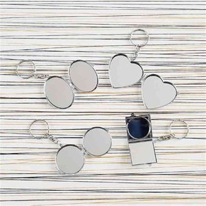 sublimation keychains women metal makeup mirrors key chain jewelry for thermal transfer blank material new 210409