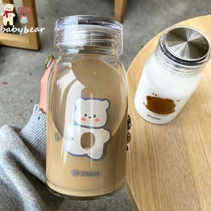 450ml Cartoon Bear Glass Water Bottle Thick Heat Resistance Drinking Bottles Cute Milk Coffee Tumblers for Student Girl Gift