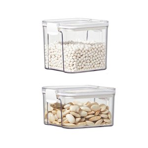 Transparent Sealed Storage Box Kitchen Grain Containers Square Nut Snack Tank Airtight Pantry Bottles & Jars