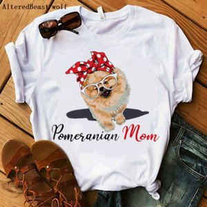 Pomerania t Shirt Dog Harajuku i Love Mom Bandana Summer O-neck Short Mouwen Clothing T-shirt Women 2021