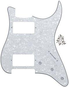 IKN HH Strat Pickguard Pick Guard Plate w screws for Standard Strat Modern Style Guitar Part, 4Ply White Pearl