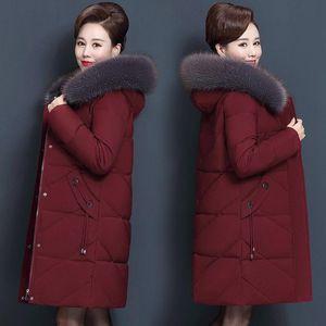 Plus Size 7xl 8xl Middle Aged Winter Jacket Hooded Fur Collar Parka Long Womens Down Cotton Coat Women Warm Overcoat C5865