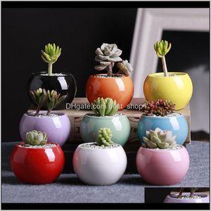 Planters Supplies Patio Lawn Home Garden Drop Delivery 2021 9 Colors Ceramic Pots Succulents Flower Pot Small Ball Round Porcelain White Colo