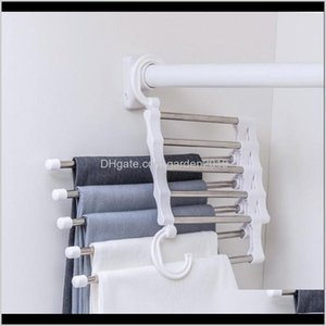 Hooks Rails Housekeeping Organization & Drop Delivery 2021 5-In-1 Stainless Steel Magic Pants Multi-Function Folding Multi-Layer Storage Rack