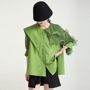 Women's Jackets 2021 Summer Lapel Ruffle Irregular Stitching Loose Short Sleeve Shirt With Belt