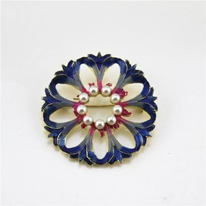 Pins, Brooches 2021 European And American Style Enamel Imitation Pearls Bouquet Fashion Delicate Brooch