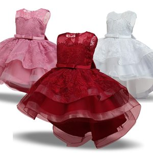 Girl's Dresses Girls Christmas Princess Dress Lace Embroidery Tulle Tutu Prom Gown Kid Clothes Children Wedding Evening Formal Year Costume