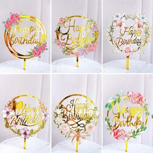 New Home Colored flowers Happy Birthday Cake Topper Golden Acrylic Birthday party Dessert decoration for Baby shower Baking supplies DHD6224