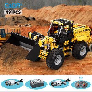 Cada 491pcs RC Wheel Loader Truck Car Building Blocks For high-tech Remote Control Truck Power Bricks Toys for Boys
