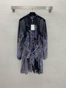 Designer Dresses 2021 Autumn Stand Collar Long Sleeve Panelled print Fashion Milan Runway Brand Same Style Dress 0809-26