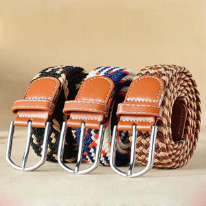 Men Women Casual Knitted Pin Buckle Belt Woven Canvas Elastic Expandable Braided Stretch Belts Plain Webbing Strap