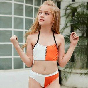 2021 Детская бикини Один кусок Модный Цвет Соответствующим Купальню Девочек
