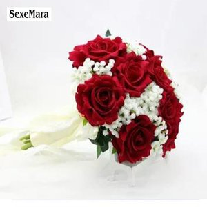 Wedding Flowers SexeMara Burgundy Flannel Rose Bride Holding Flower Bridesmaid Pography Props 10colourRr
