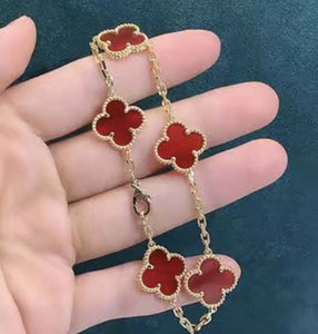 5 Colors Fashion Classic 4 Four Leaf Clover Charm Bracelets Bangle Chain 18K Gold Agate Shell Mother-of-Pearl for Women&Girls Wedding Mother's Day Jewelry Women GifD