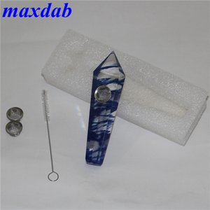 Natural Quartz Crystal Tobacco pipe Smoking Cigarette Hand Herb Pipes Tube Tool Metal Mesh Accessories Oil Rigs 5 Style