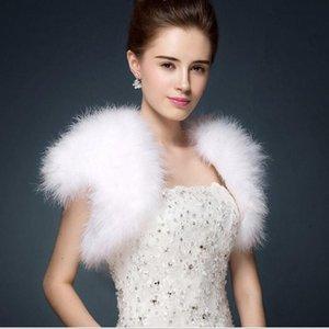 Scarves Ostrich Feathers Bolero Shrugh WaistCoat Vintage Marabou Feather Shrug Stole Bridal Accessories Dress Evening Cape S69