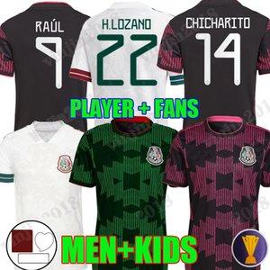 2021 المكسيك كرة القدم الفانيلة concacaf كأس الذهب camisetas 21 22 مراوح لاعب نسخة تشيتشاريتو لوزانو دوس سانتوس 2022 القميص الوطني لكرة القدم الرجال + أطفال مجموعات كيت