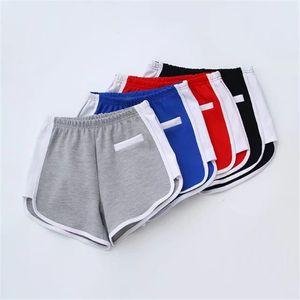 Summer New Arc Color Matching Fitness Yoga Shorts Wind Elastic Waist Women's Hot Pants