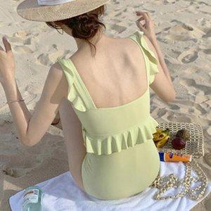 Ruffle Swimsuit Women Biquini Push Up Bikini High Waist Swimwear Solid Color One-Piece-Suits Bathing Suit Biquinis 09