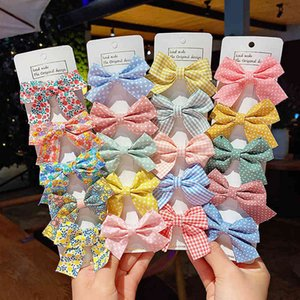 5 p set new beautiful girls chess star printing hairpins for children sweet bandana hair staples barrettes fashion bow accessories