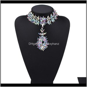 Chokers Necklaces & Pendants Jewelry Drop Delivery 2021 Fashion Designer Luxury Colorful Glittering Crystal Zircon Exaggerated Flower Pendant