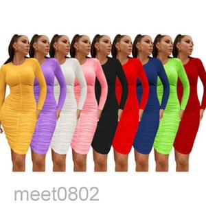 2021 Women Midi Dresses Solid Color Long Sleeve Modest Dress Sexy Elegant Cheap Casual Ladies One-piece Skirt A3387