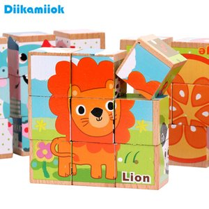 9pcs set Wood Six Pattern 3D Puzzles Blocks Kids Wooden Toy Animals  Vehicle  Fruit Baby Learning Educational Toys for Children A0511