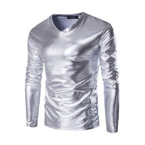 T Shirt Fashion Spring Autumn Stamping Shiny Gold silver black Nightclub Dance Wine Bar Long Sleeve V-neck Shirts Men 4xl