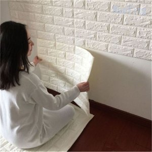 DIY 3D PE Foam Brick Wallpaper Panels wall Stickers Room Decal Stone Safety Home Deco Embossed Self Adhensive
