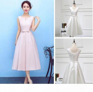 New Fahion Jewel Tea-length Satin Cocktail Dresses Lace-up Back Simple Design New Arrival Dresses Partyt Evening