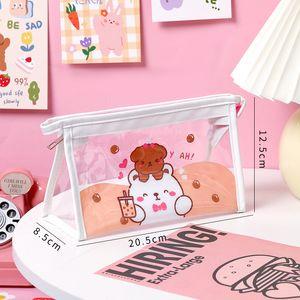School season cartoon transparent pencil bags large capacity female simple student Japanese triangle cosmetic bag