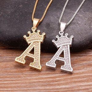 Chains Luxury A-Z 26 Initials Name Necklace Gold Silver Letters Pendant Alphabets Fashion Crown Choker Jewelry Fine Birthday Party Gift