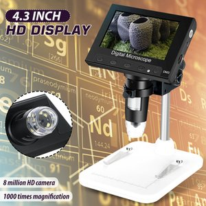 """1000x 2.0MP Microscopio electrónico digital USB 4.3 """"Microscopio VGA de pantalla LCD de pantalla LCD con 8 soporte LED para la reparación del teléfono de la placa base PCB, la lupa del diamante Identificar la joyería"""