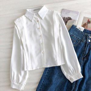 Solid Shirt Women 2021 Autumn Korean Fashion Clothing Elegant Slim Fit Women's Long Sleeve Top Collar White Blouses & Shirts