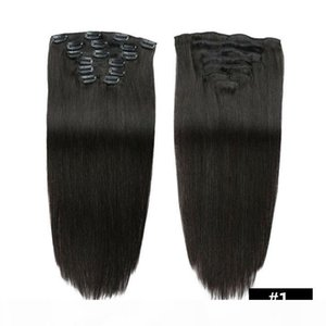 Thick Full Head 70g 100g Set Straight Clip In On Human Hair Extensions Cheap Remy Peruvian Hair Extentions Clip Ins 20 Colors Available