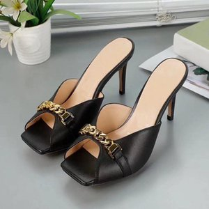 Women shoes design slippers Luxury Designer Fashion Sandals Peep Toes gold high heels with leather metal chains 6.5cm
